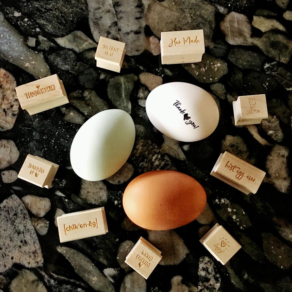 fresh eggs with egg stamps from Farm house maven on Etsy
