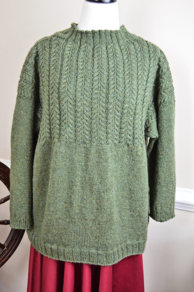 my January Gansey sweater by olive knits Marie Greene #handknitsweater #sweater #oliveknits #mariegreene #januarygansey #knitting #knitter #knit #green