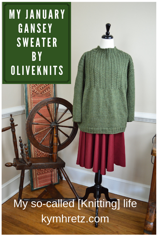 my January Gansey sweater by olive knits Marie Greene #handknitsweater #sweater #oliveknits #mariegreene #januarygansey #knitting #knitter I #spinningwheel#knit #green